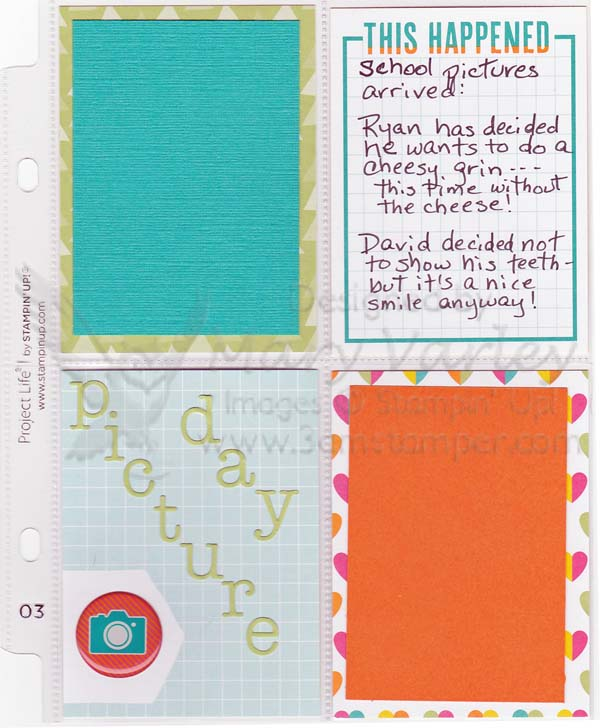 Project Life Picture Day Page-Visit http://www.3amstamper.com